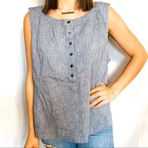 NWOT EILEEN FISHER Chambray Button-Up Tank Size XL